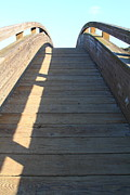 Wood Bridges Photos - Arched Pedestrian Bridge At Martinez Regional Shoreline Park in Martinez California . 7D10525 by Wingsdomain Art and Photography
