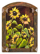 Vic Mastis Paintings - Arched Sunflowers with Gold Leaf by Vic Mastis by Vic  Mastis