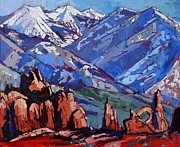 Moab Painting Prints - Arches at La Sal Print by Erin Hanson