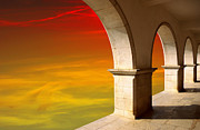 Red Buildings Posters - Arches at Sunset Poster by Carlos Caetano