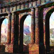 Roman Ruins Digital Art Posters - Arches Poster by Barbara Berney