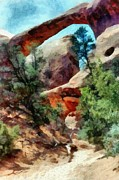 Outside Digital Art Framed Prints - Arches National Park Trail Framed Print by Michelle Calkins