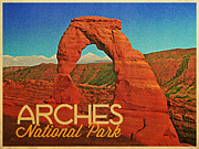 Delicate Arch Framed Prints - Arches National Park Framed Print by Vintage Poster Designs