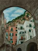 Village In Europe Framed Prints - Arches of Italy Framed Print by Charlotte Blanchard