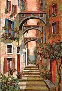 Street Scene Metal Prints - Archetti In Rosso Metal Print by Guido Borelli