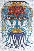 Colorful Fabric Tapestries - Textiles Metal Prints - Archetypal Mask Metal Print by Carol  Law Conklin