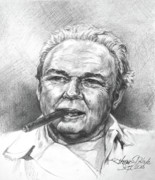 All In The Family Metal Prints - Archie Bunker Carroll OConnor Metal Print by Thomas Hoyle