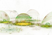 Fractal Globes Prints - Architects Rendition  Bioshpere Maximus Print by Richard Ortolano