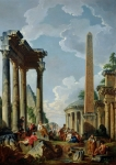 Obelisk Framed Prints - Architectural Capriccio with a Preacher in the Ruins Framed Print by Giovanni Paolo Pannini or Panini