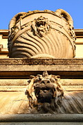 Gargoyles Framed Prints - Architectural Detail . Large Urn With Lion Gargoyle  . Hearst Gym . UC Berkeley . 7D10191 Framed Print by Wingsdomain Art and Photography