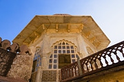 Hindi Metal Prints - Architectural Details of the Amber Fort Metal Print by Inti St. Clair