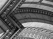 Black And White Paris Posters - Architectural Details of the Arc Poster by Donna Corless