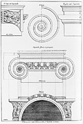 Book Illustrations Framed Prints - Architectural Drawing For An Ionic Framed Print by Everett