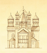 Image Created 19th Century Drawings Framed Prints - Architectural Drawing of Maria Laach Abbey in Germany  Framed Print by Pictus Orbis Collection