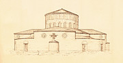 Nobody Drawings Posters - Architectural Drawing of Santo Stefano Rotondo in Rome Italy Poster by Pictus Orbis Collection