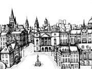 Town Square Drawings Prints - Architectural Evolution in an Urban Landscape 6 Print by James Falciano