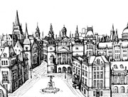 Town Square Drawings Prints - Architectural Evolution in an Urban Landscape 7 Print by James Falciano
