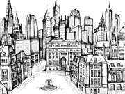 21st Drawings Prints - Architectural Evolution in an Urban Landscape 9 Print by James Falciano