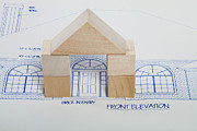 Home Ownership Prints - Archway On Blueprints Print by Diane Macdonald