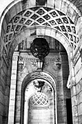 Black And White Prints Prints - Archways at the Library bw Print by John Rizzuto