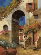 Red Tapestries Textiles Originals - Arco Al Buio by Guido Borelli