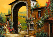 Orange Sky Posters - Arco Di Paese Poster by Guido Borelli