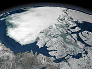 Topography Art - Arctic Sea Ice Above North America by Stocktrek Images