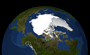 Planet Map Prints - Arctic Sea Ice In 2005 Print by Stocktrek Images