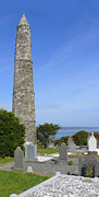Graveyard Digital Art Prints - Ardmore Round Tower - Ireland Print by Mike McGlothlen