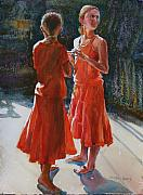 Figures Painting Originals - Are They Twins by Carolyn Epperly