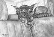Pinscher Drawings Posters - Are We There Yet - Doberman Pinscher Dog Print Poster by Kelli Swan