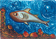 Sharks Paintings - Are you coming by Sibel Kantola