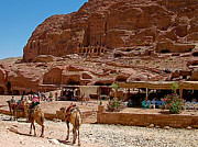 Tombs Digital Art - Area in front of Tombs of the Kings in Petra by Ruth Hager