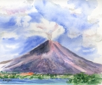 Watercolors Painting Framed Prints - Arenal Volcano Costa Rica Framed Print by Arline Wagner