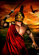Spartan Framed Prints - Ares Framed Print by Lourry Legarde
