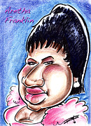 Big Mike Roate Drawings Framed Prints - Aretha Franklin Framed Print by Big Mike Roate