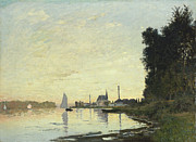 Boats On Water Framed Prints - Argenteuil in Late Afternoon Framed Print by Claude Monet
