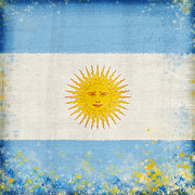 Old Map Pastels Prints - Argentina flag Print by Setsiri Silapasuwanchai