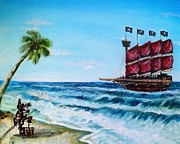 Pirate Ship Paintings - Argh bout time Mateys by Shana Rowe