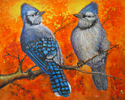 Bluejay Paintings - Arguing Bluejays by Forrest C Greenslade PhD