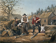 Pioneers Paintings - Arguing the Point by Currier and Ives