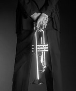 Black Man Photo Prints - Ari and Trumpet Print by Tony Cordoza