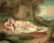 Nudes Posters - Ariadne Asleep on the Island of Naxos Poster by John Vanderlyn