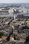 Arial View Photos - Arial view of Bostons North End and the Tobin Bridge by John Gaffen