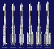 Variants Framed Prints - Ariane 4 Rocket Versions, Artwork Framed Print by David Ducros