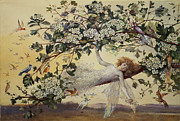 Tree Blossoms Paintings - Ariel by John Anster Fitzgerald