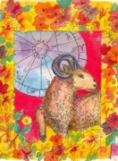 Astrology Drawings Posters - Aries Poster by Cathie Richardson