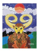 Signed Mixed Media Acrylic Prints - Aries the Ram Acrylic Print by Stephen Daniel