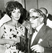 Onassis Framed Prints - Aristotle Onassis, With Opera Star Framed Print by Everett
