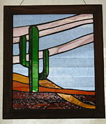 Amber Glass Art - Arizona cactus by Shelly Reid